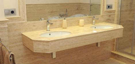 Encimera de ba o marmoles carrobles for Encimeras de madera para banos